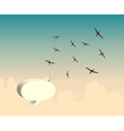 Retro background with bird and speech bubble vector image