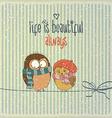 Retro with happy couple birds in winter and phrase vector image