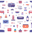 seamless pattern with pet store products for cats vector image vector image