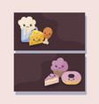 set of bakery pastry kawaii character vector image vector image