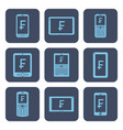 set of icons - mobile devices with frank symbols vector image vector image