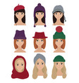 set of stylish women characters in winter hats vector image