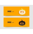 Set of two banners with pumpkin cut out vector image