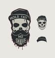 skull head character vintage hand drawn design vector image