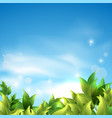 summer background with green leaves against the vector image
