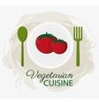 tomatoes vegetarian cuisine organic food plate and vector image