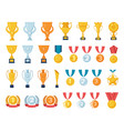 trophy award sports games golden cup championship vector image