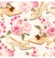 Vintage shoes seamless background vector image vector image