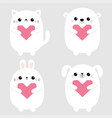 white rabbit cat kitten hare bear dog puppy head vector image vector image