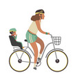 woman and child on bicycle young happy vector image