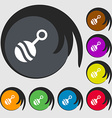Baby rattle icon sign Symbols on eight colored vector image