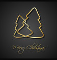 two golden christmas trees on black background vector image
