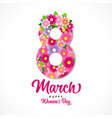 8 march happy womens day pink flowers banner vector image vector image