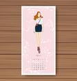 april hand drawn fashion models calendar 2016 vector image vector image
