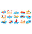 beach activities active man and woman surfing vector image vector image
