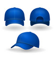 blue baseball cap set front side view isolated vector image vector image