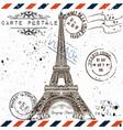 bonjour paris imitation of vintage post card vector image vector image
