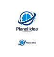 brain logo designs template planet idea logo vector image vector image