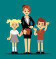 cartoon boy and girl with their first teacher vector image vector image