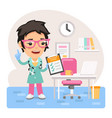 cartoon female doctor physician in office vector image