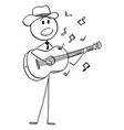 cartoon musician or singer in cowboy hat vector image