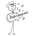 cartoon musician or singer in cowboy hat vector image