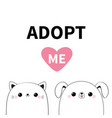 cat dog head face icon set adopt me cute cartoon vector image