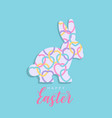 colorful happy easter with hearts rabbit vector image vector image