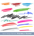colorful scribble smears hand drawn in pencil logo vector image