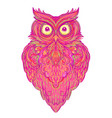 cute abstract owl and psychedelic ornate pattern vector image
