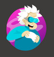 cute cartoon old man with joystick and vr glasses vector image