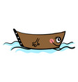 cute little boat on white background vector image vector image