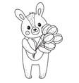 cute outline doodle bunny hand drawn elements vector image