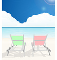 Deck chairs on beach vector image