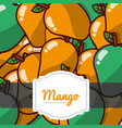 delicious mango fresh fruit label pattern vector image