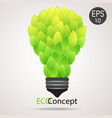 eco lamp lightbulb from green leaves vector image vector image