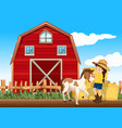 farm scene with girl and horse on vector image vector image