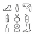 fashion and beauty thin line icon collection vector image