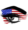 flags of the usa in beautiful female eye vector image vector image