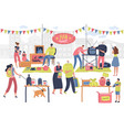 flea market people on fashionable shopping second vector image