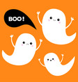 flying ghost spirit set three scary white ghosts vector image