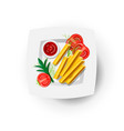 french fries icon on white plate with tomatoes and vector image
