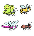 funny cartoon insects vector image vector image