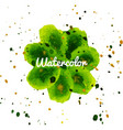 green flower splash watercolor hand drawn vector image vector image
