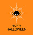 happy halloweenspider on the web cute cartoon vector image