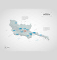isometric myanmar burma map with city names and vector image vector image