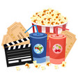 juice popcorn and movie tickets vector image vector image