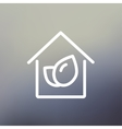 Leaf house thin line icon vector image