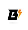 Letter B lightning logo icon design template vector image vector image