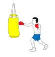 man punching bag on boxing training vector image